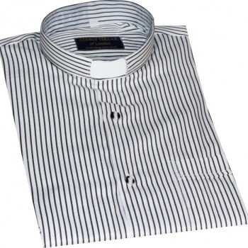 Black & White Stripe Clerical Shirt