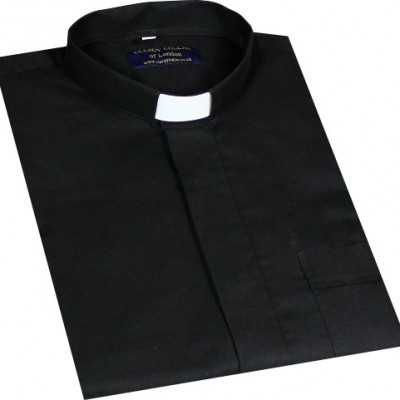 Black Oxford Cotton Clerical Shirt